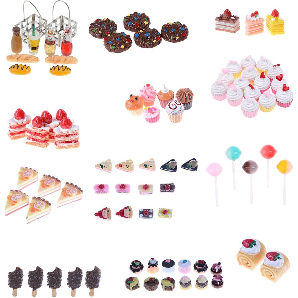 5Pcs Artificial Bakery Cake Bread Food Fruit Banana DollHouse Kitchen Toy Craft DIY Embellishment Accessories Fake Miniature