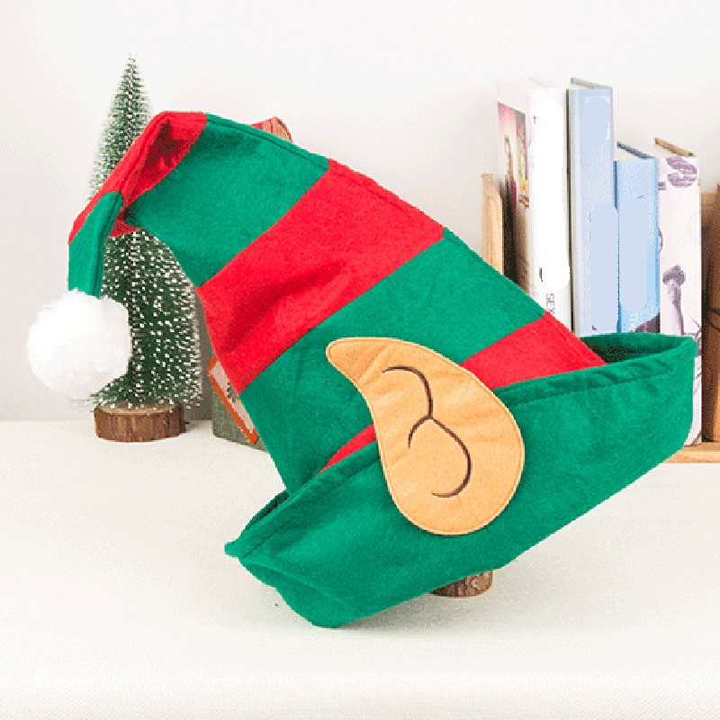Christmas Elf Hat Adults With Ears Red Green Striped Design One Size Fits Most Non-Woven Elf Hat With Ears