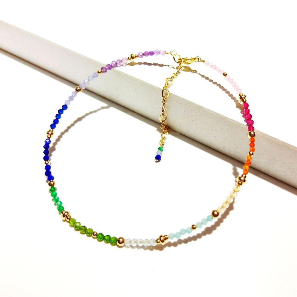 Lii Ji Rainbow Color Stone Amethyst Lapis Lazuli Citrine Beaded Sparkling Anklet American 14K Gold Filled Anklet 23+5cm