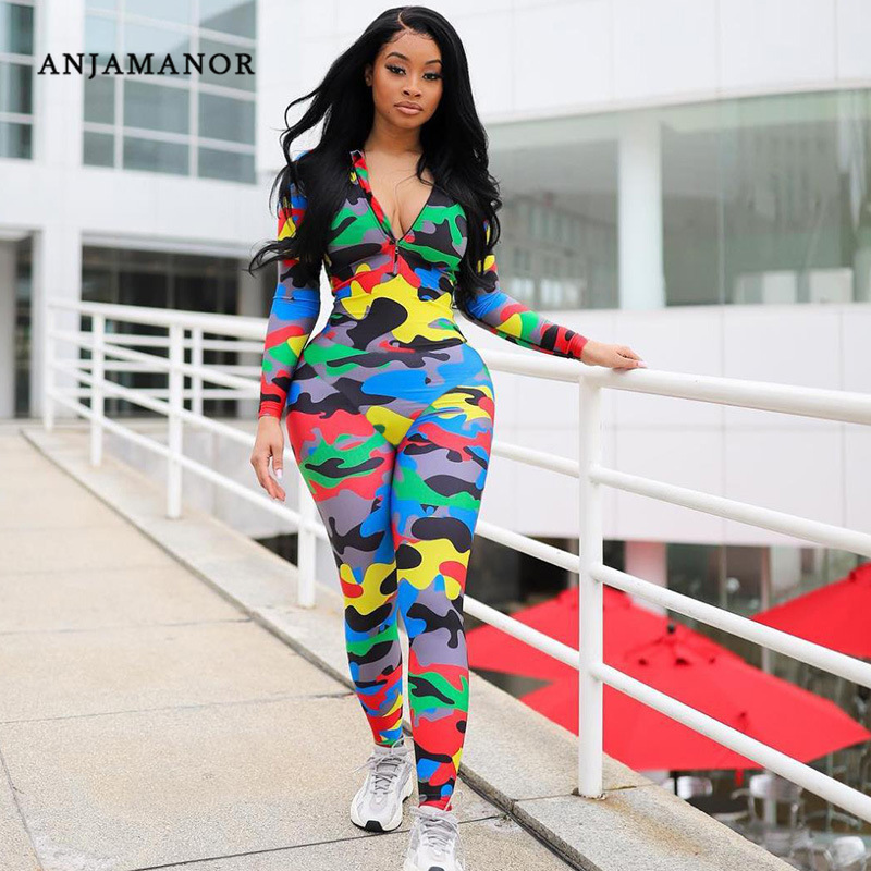 ANJAMANOR Camouflage Print Long Sleeve Bodycon Jumpsuit For Women Autumn Fitness Gym Clothing Sexy One Piece Romper D87-AD30