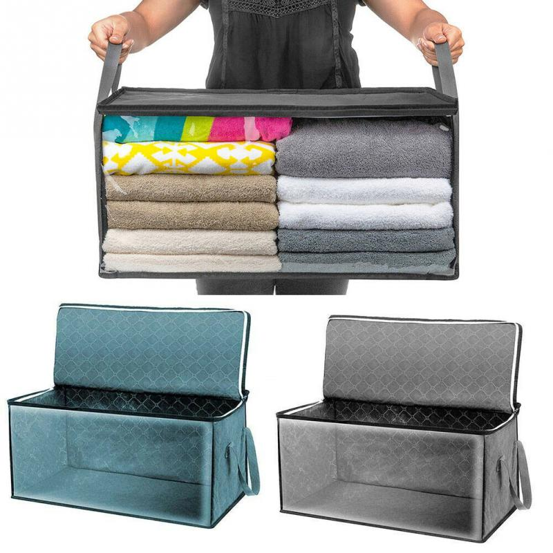 2pcs/set Portable Moisture Proof Zipper Storage Box Clothes Blanket Closet Bag Carry Handles Lift Bags For Stacking Or Transport