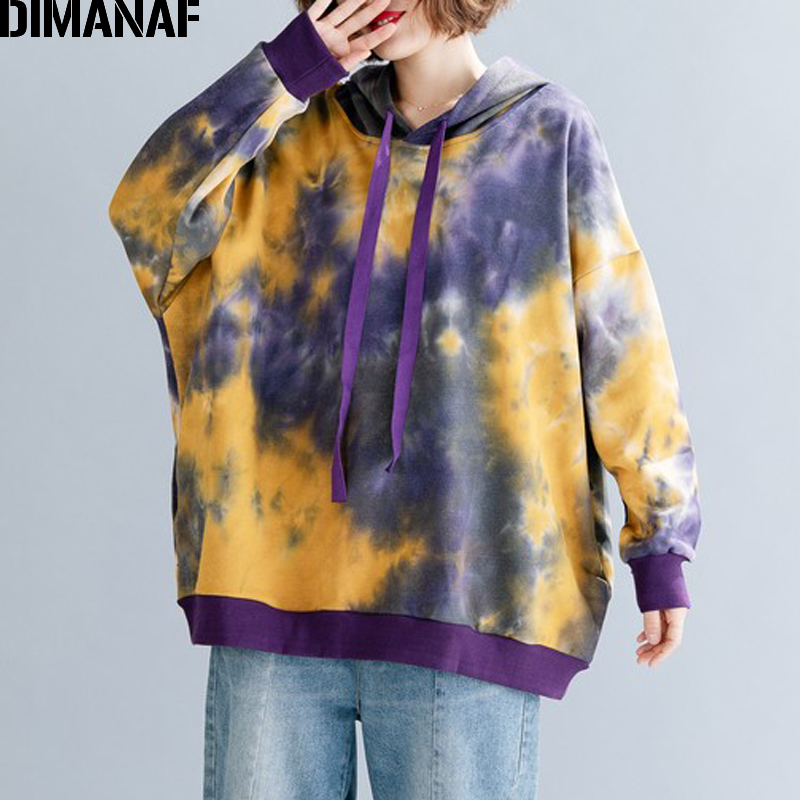DIMANAF Oversize Women Hoodies Sweatshirts Autumn Winter Female Tops Pullovers Fashion Print Loose Long Sleeve Plus Size Hooded