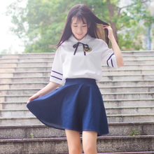 School Girl Skirt Sailor-Uniform Korean-Costumes Outfit Suit Blue Summer Hot And Spring