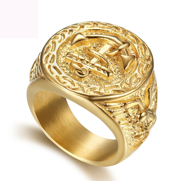 New Boat anchor finger ring jewelry titanium steel figure rings fashion gold color navy for men free shipping