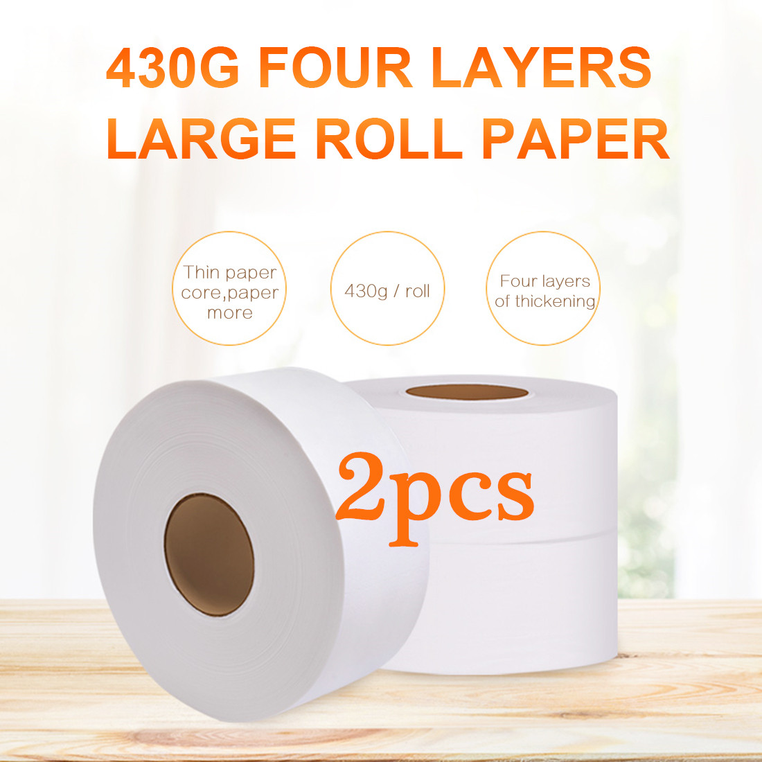 2 Roll White Toilet Paper 4-layers Jumbo Roll Towels Virgin Wood Pulp Adjunct Non-Smell Soft Tissue For Home Public Hotel