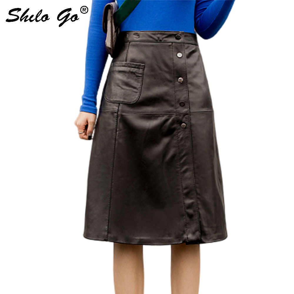 Genuine Leather Skirts Elegant Single Breasted High Waist Sheepskin A Line Skirts Women Autumn Winter Office Lady Solid Skirts