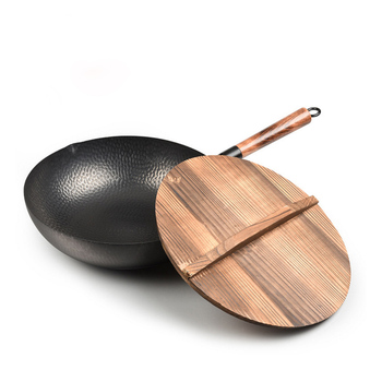 32cm Chinese Traditional Handmade 100% Iron Wok Thickening Non Coated Round Bottom Pan Wok Cook Large Cooking Pot with Wood Lid