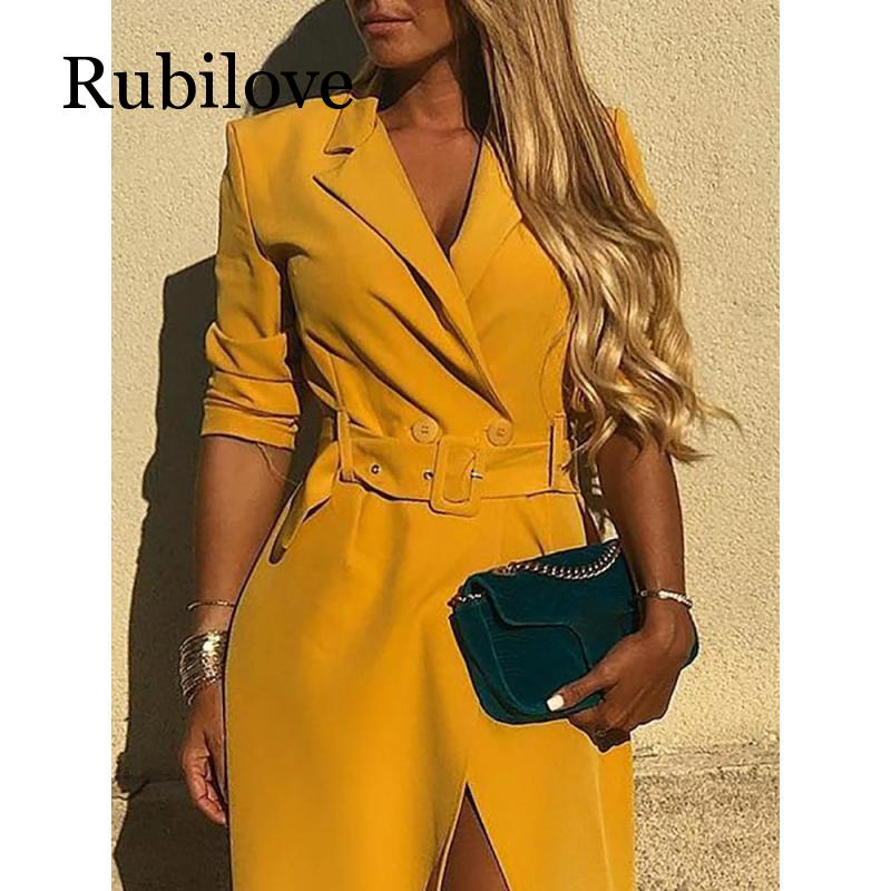 Rubilove Sexy belted slit blazer dress Summer 2019 long sleeve yellow dresses Elegant office party dress Plus size in Dresses from Women 39 s Clothing