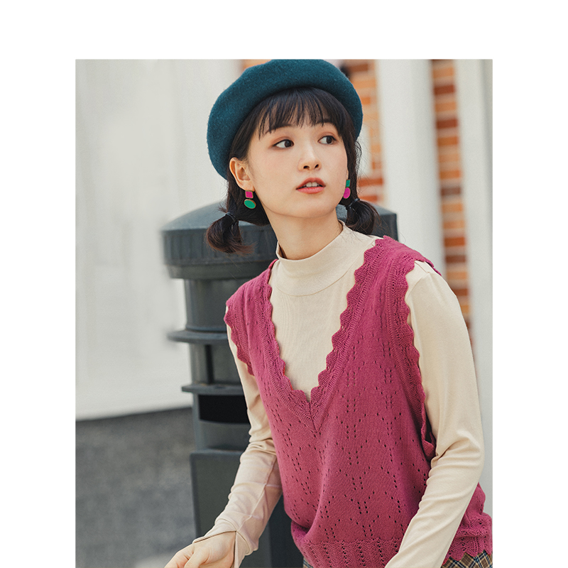 INMAN 2020 Spring New Arrival Literary Solid V-neck Lace Knitted Women Vest