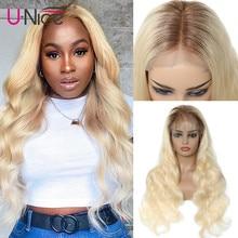 UNice Hair-Peluca de encaje T4 613 para mujeres negras, Honey Blonde13x4/6, pelucas de cabello humano con malla frontal, cuerpo ondulado de 12-22 pulgadas, 360 peluca con malla frontal