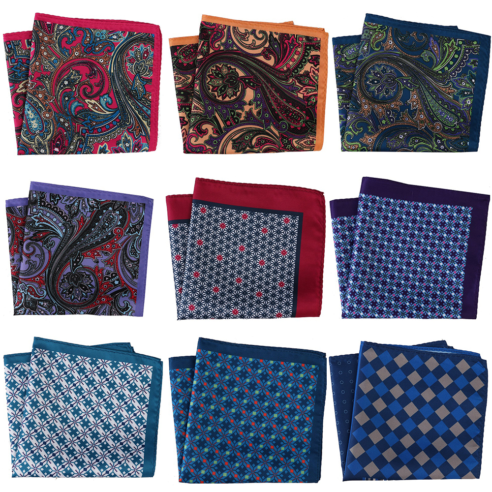 30*30CM Men's Handkerchief Men Pocket Squares Floral Paisley Scarf Hankies Chest Tower Printed Mens Towel Gift Wedding Party