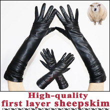 Mid-length leather gloves women #8217 s sheepskin gloves long winter warm plus velvet thick fashion sheepskin sleeves arm sleeves cheap AOTIANYANG Adult Genuine Leather Gloves Mittens