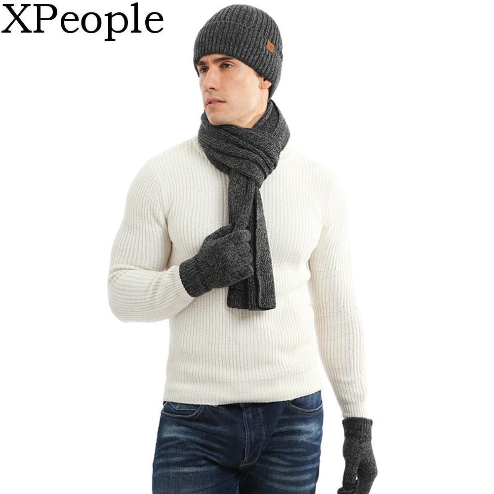 XPeople Touch Screen Unisex Cable Knit Winter Cold Weather Gift Knit Scarf Hat Gloves Set Fleece Lined Skull Cap For Men Women