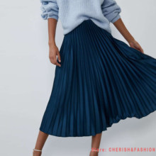 2020 New Arrival Women Fashion Ankle-length Long Pleated Skirts Lady Spring Summer Autumn Vintage Hight Waist Green Blue Skirt(China)