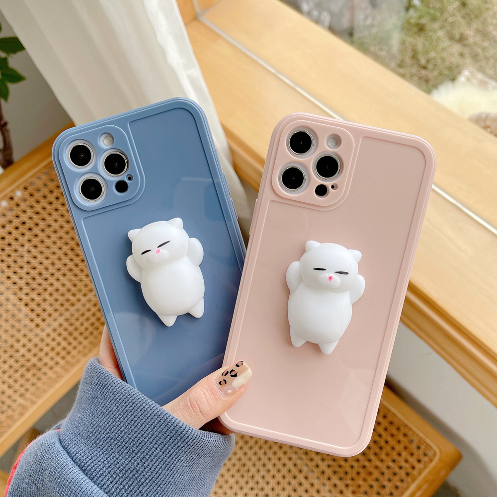 Cute 3D Cat Decompression Artifact Phone Case For Iphone 12 11 Pro Max 12Mini X XS Max XR 7 8 Plus Soft TPU Back Cover