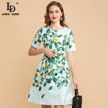 LD LINDA DELLA Designer Mini abito estivo donna manica corta lusso perline paillettes foglia verde stampa limone abito Jacquard Vintage