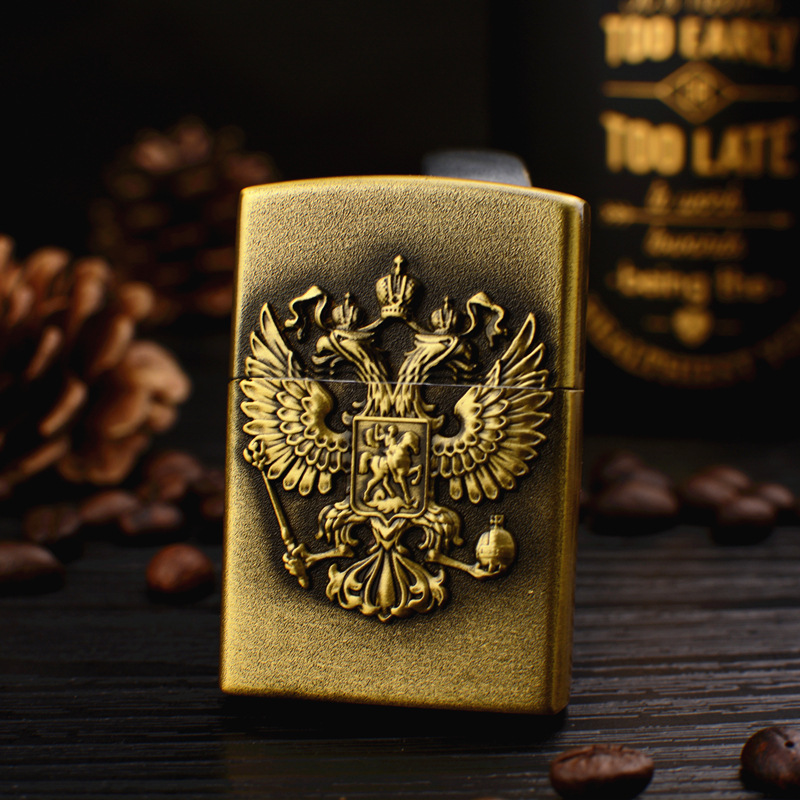 Russian Double-headed Eagle Kerosene Metal Gas Creative Embossed High-end Gift Open Flame Lighter Cigarette Accessories
