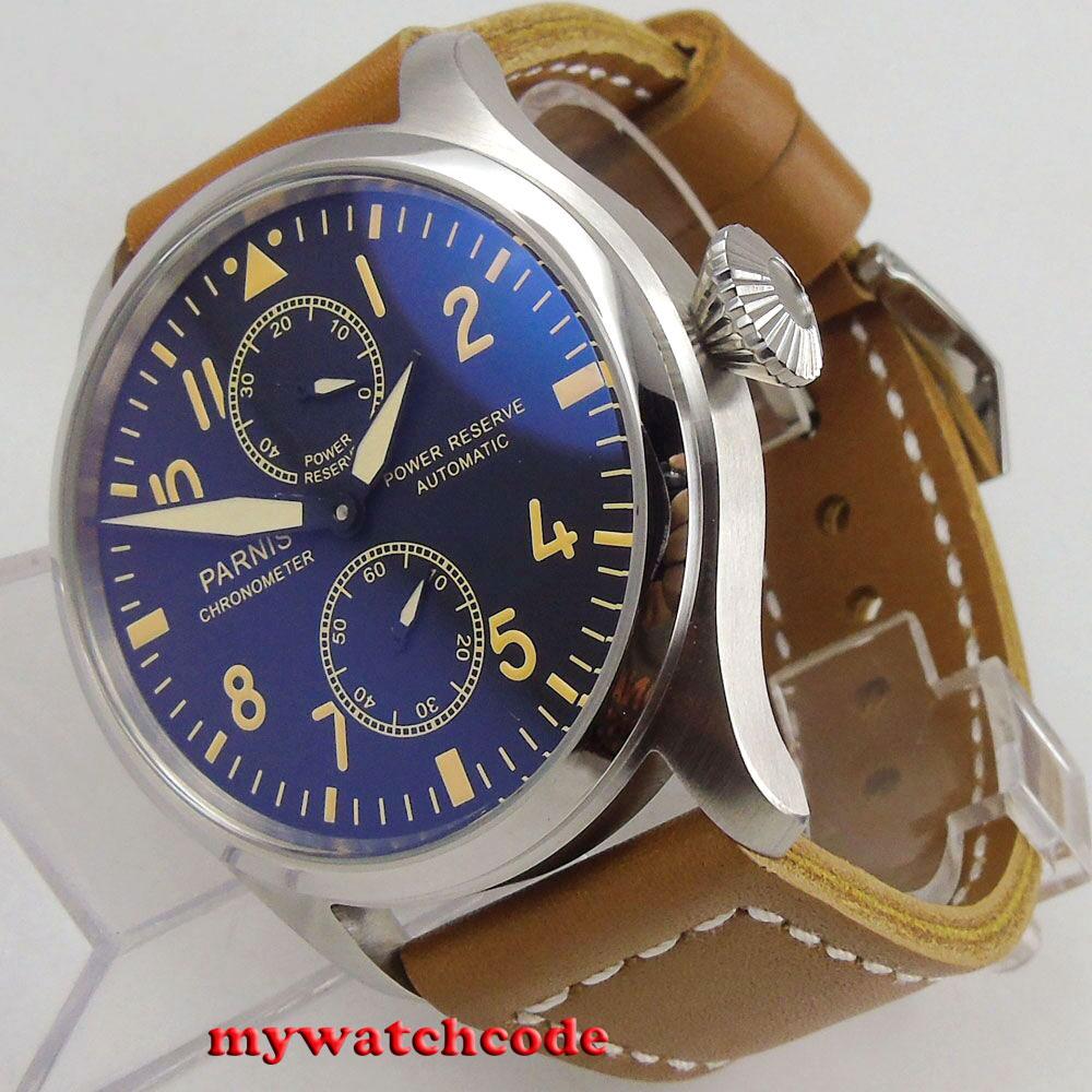 47mm parnis 블랙 다이얼 빅 크라운 파워 리저브 st2542 자동식 남성 시계 p95-에서기계식 시계부터 시계 의  그룹 1