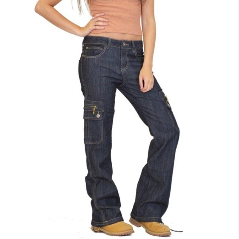 Fashion Denim Cargo Pants Women High Waist Retro Loose Flare Jeans Wide Leg Trousers Ladies Casual Boot Cut Jeans Plus Size 4XL