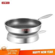 Стальная антипригарная сковорода AIWILL, Новое поступление 304, сковорода для жарки стейка, электромагнитная печь