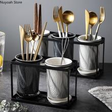 Nordic Creative Ceramic Chopstick Tube Cage Stand Chopsticks Drain Tube Rack Fork Spoon Storage Rack Chopsticks Basket Tube Rack