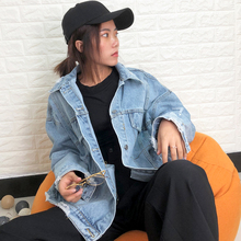 Loose coat 2019 new heavy industry embroidery worn loose washed lapel fashion denim jacket