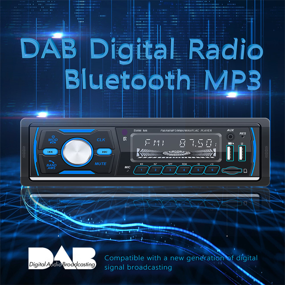 Bluetooth Autoradio Car Stereo Radio Receiver DAB DAB+ FM AM RDS 1 Din Panel Seven Colorful Lights Car MP3 Multimedia Player image