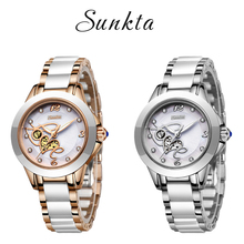SUNKTA シミュレーションクォーツ女性の腕時計トップブランドの高級シンプルな時計女性ガールブレスレットダイヤモンド腕時計レディースレロジオ Feminino