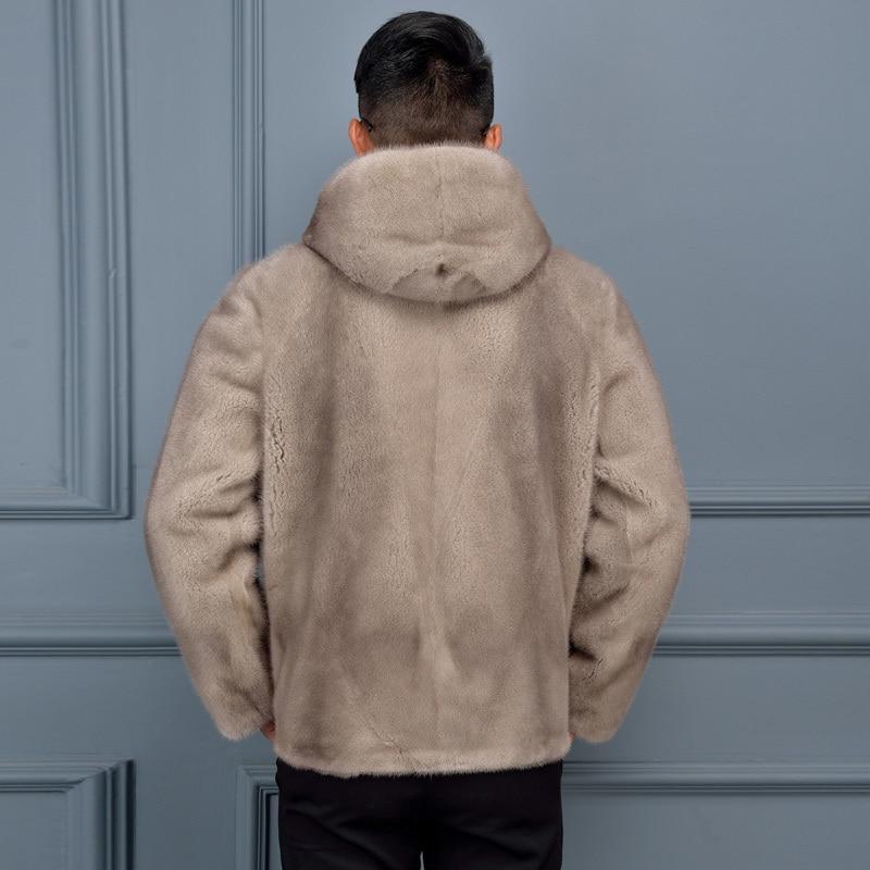 Real Fur Coat Men Natural Mink Fur 2020 Winter Jacket Mens Mink Coat Hooded Short Sherling Veste Hiver HommeZ28-3 KJ1098