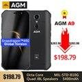 Водонепроницаемый смартфон AGM A9  5 99 дюйма  FHD +  5400 мАч  быстрая зарядка  3 0  4 ГБ  64 ГБ  32 ГБ  IP68  Android 8 1  Quad колонки  NFC