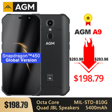 "AGM A9 هاتف ذكي متين 5.99 ""FHD + 5400mAh شحن سريع 3.0 4G 64G 32G IP68 مقاوم للماء أندرويد 8.1 سماعات رباعية NFC"