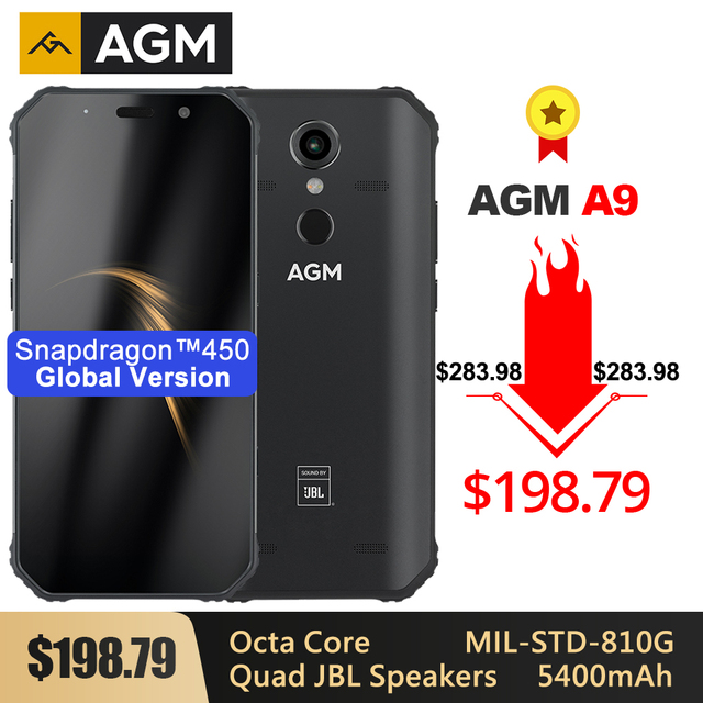 """AGM A9 Rugged Smartphone 5.99"""" FHD+ 5400mAh Quick Charge 3.0 4G 64G 32G IP68 Waterproof Android 8.1 Quad Speakers NFC"""