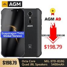 AGM teléfono inteligente A9 resistente, pantalla FHD de 5,99 pulgadas, batería de 5400mAh, carga rápida 3,0, 4G, 64G, 32G, resistente al agua IP68, Android 8,1, cuatro altavoces, NFC