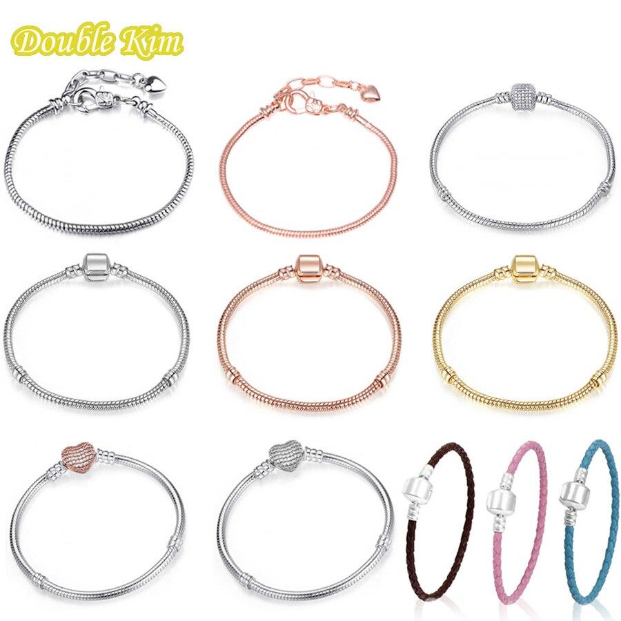 Basic Charm Bracelet Sliver Color Basic Snake Chains Leather Bracelet Fit Charms Bracelet Trendy DIY Jewelry Women Bracelets
