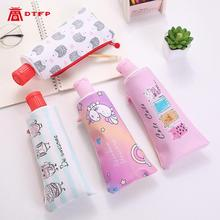 Pencilcase Cartoon toothpaste shape contrast color stationery bag large capacity creative pencil case cute zipper storage