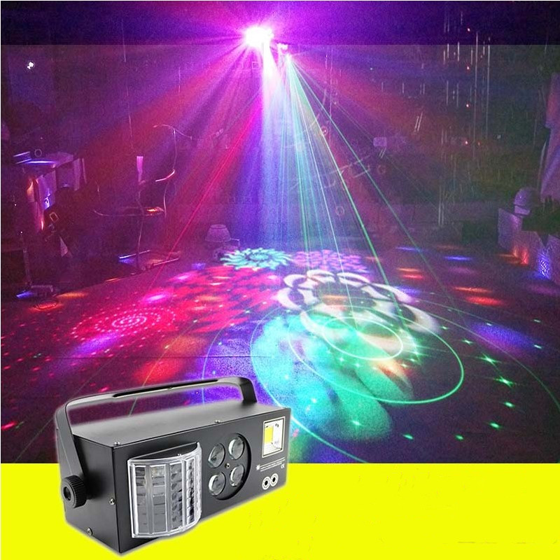 F&G LED Mini Stage Lights DJ Disco Strobe+Laser+Pattern+Butterfly 4in1 Effect Light For KTV Disco DJ Family Party Light Show