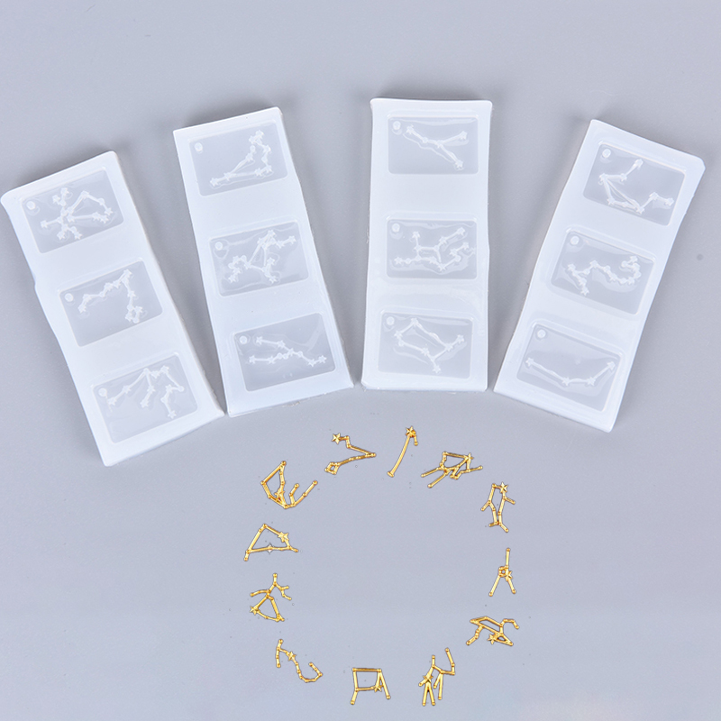 1PC Resin Silicone Mold 12 Constellation Pendant Molds DIY Charms Making Jewelry