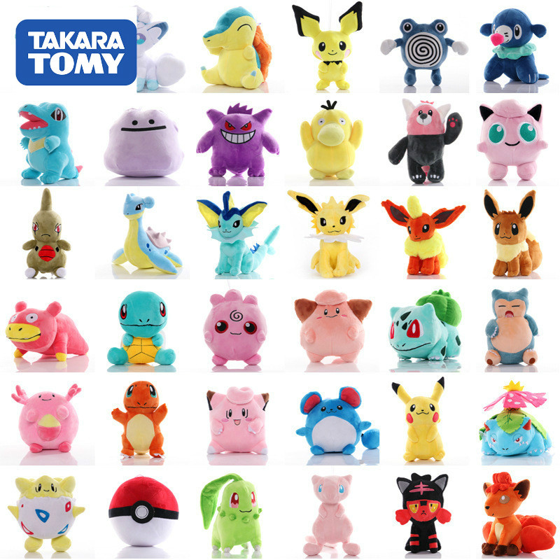 41 Styles TAKARA TOMY Pokemon Original Pikachu Squirtle Stuffed Hobby Anime Plush Doll Toys For Children Christmas Event Gift