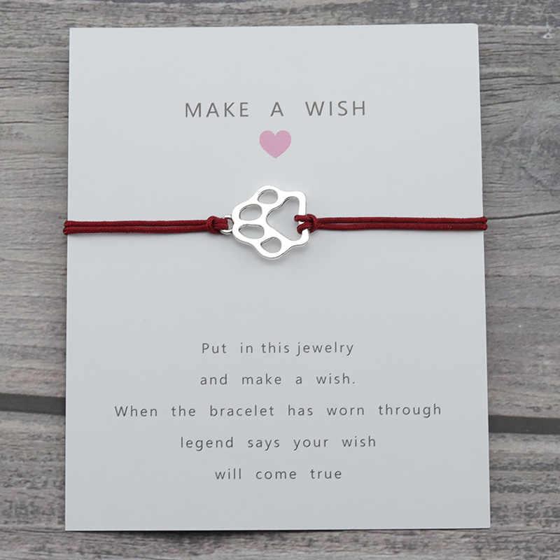 כסף Paw קסם משאלת מזל כרטיס חבל שרשרת כלבים חתולים נשים צמיד לנשים גברים הטוב ביותר ידידות צמידים & צמידים תכשיטים