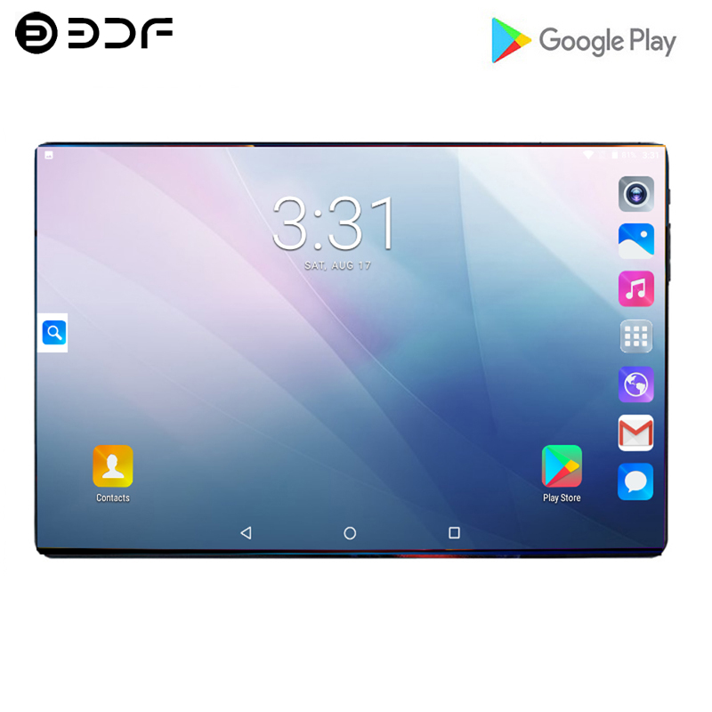 2.5D Steel Screen 10.1 Inch Tablet 4G Phone Call Android 9.0 Ten Core 8GB+128GB ROM Bluetooth Wi-FI Tablet PC+ Cover