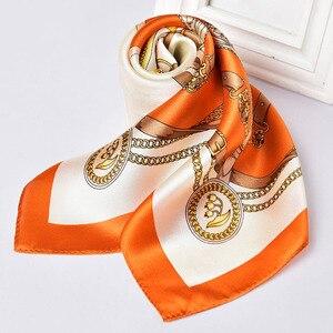 Image 4 - 100% Nature Square Silk Neckerchief Hangzhou Silk Kerchief Wraps for Ladies Printed Bandana Real Satin Silk Square Neck Scarf