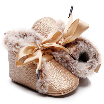 Autumn Winter Sweet warm Baby Shoes Princess Girls Pu Leather Solid Crib shoes Babe Infant Toddler Cute Bow Firstwalkers - discount item  49% OFF Baby Shoes