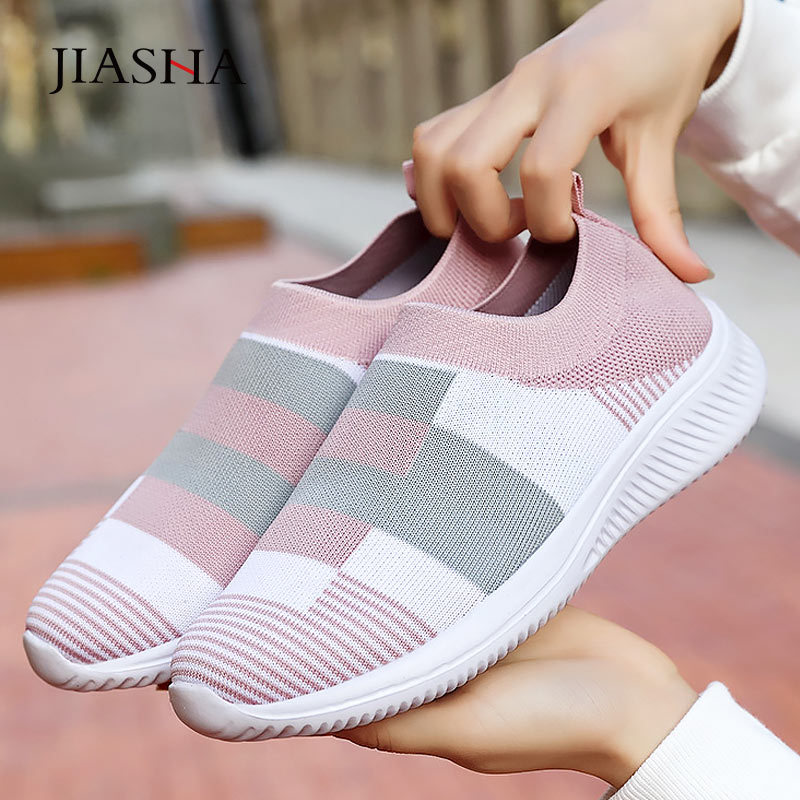 Promo Sneakers women shoes new fashion lightweight knitted casual shoes woman breathable mesh shoes female footwear tenis feminino