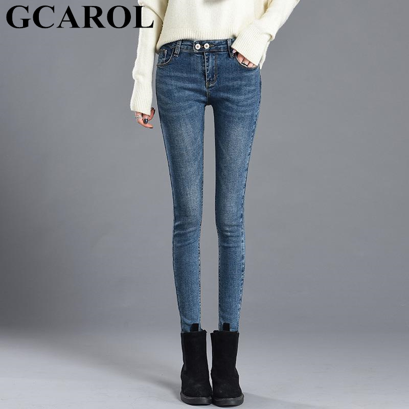 GCAROL New Women Mid Waist Skinny Jeans Sexy Stretch 72% Cotton Blends Denim Pencil Pants Full Length Plus Size 25-32