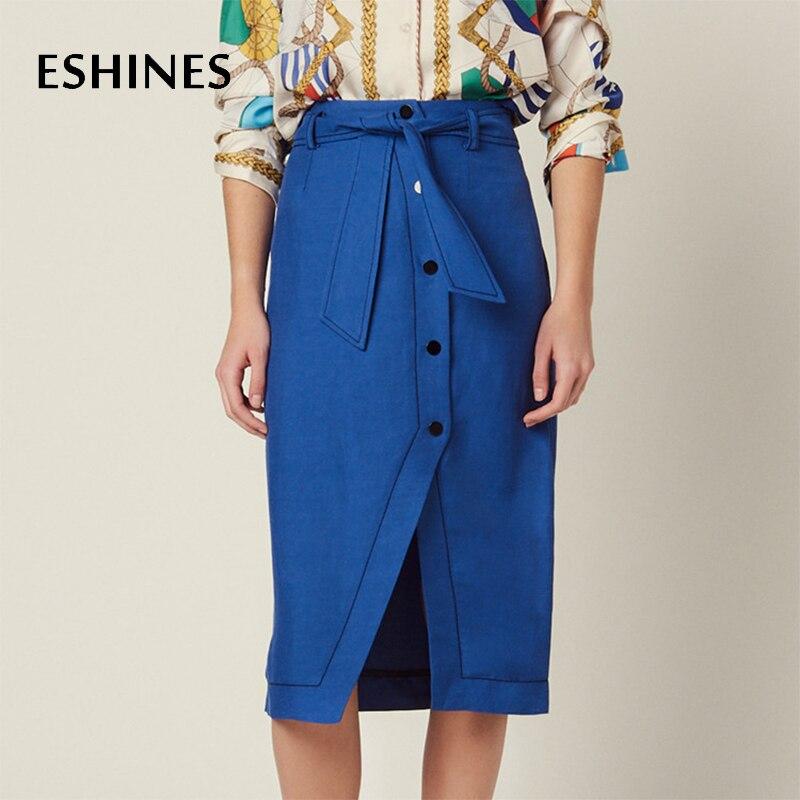 ESHINES nouvelle mode automne bleu Simple jupe mi-longue élégante taille haute une ligne ouverte à lacets