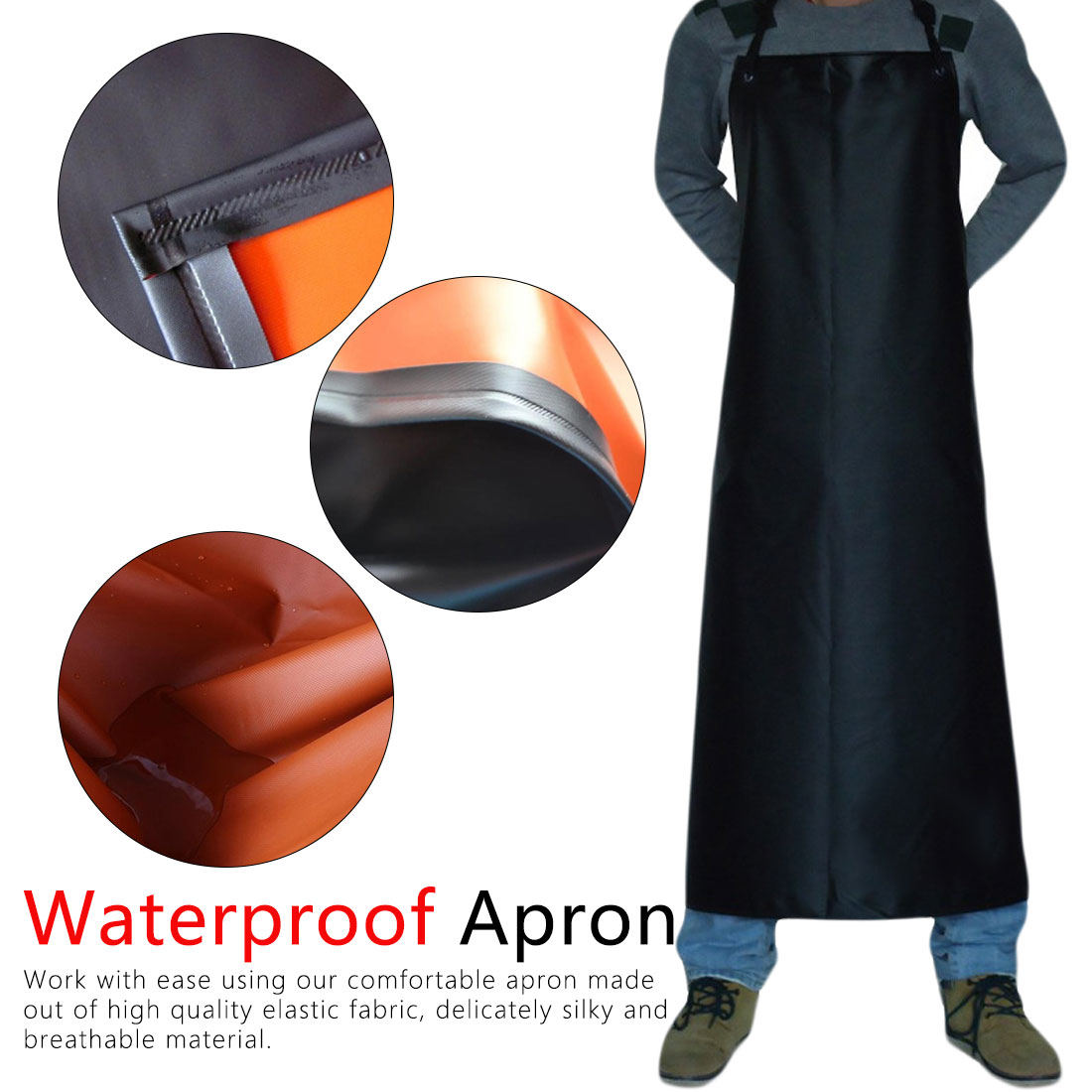 Industrial Heavy Duty Waterproof PVC Coated Apron Kitchen Fishing  Butcher Apron household products|Aprons| |  - title=