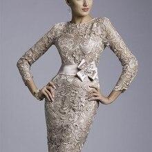 Dresses Sheath Lace Groom Wedding Elegant Plus-Size 3/4-Sleeves for Short Beaded