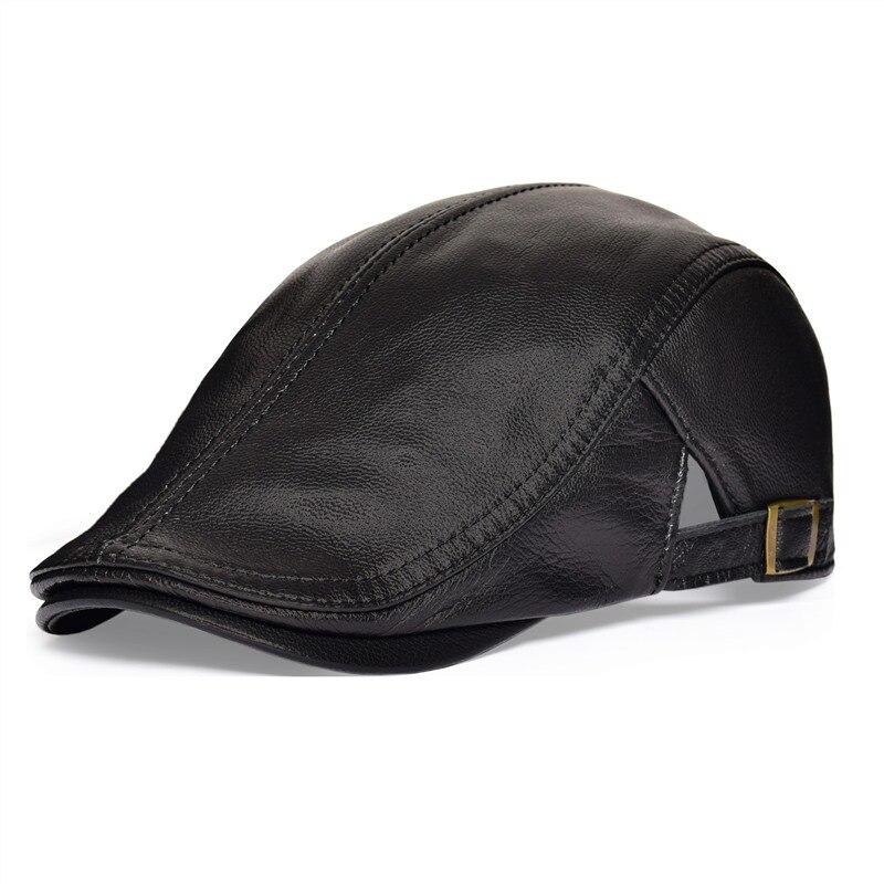 VOBOOM Black Leather Flat Cap Men Natural Genuine Lambskin Ivy Caps Newsboy Gatsby Hat Classic Boina 121