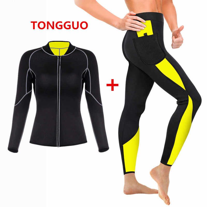 2020 Womens Sweat Shaper Lange Shirt + Broek-Hot Thermo Afslanken Shapewear Sauna Pak Taille Trainer Neopreen Tummy Shaper corset
