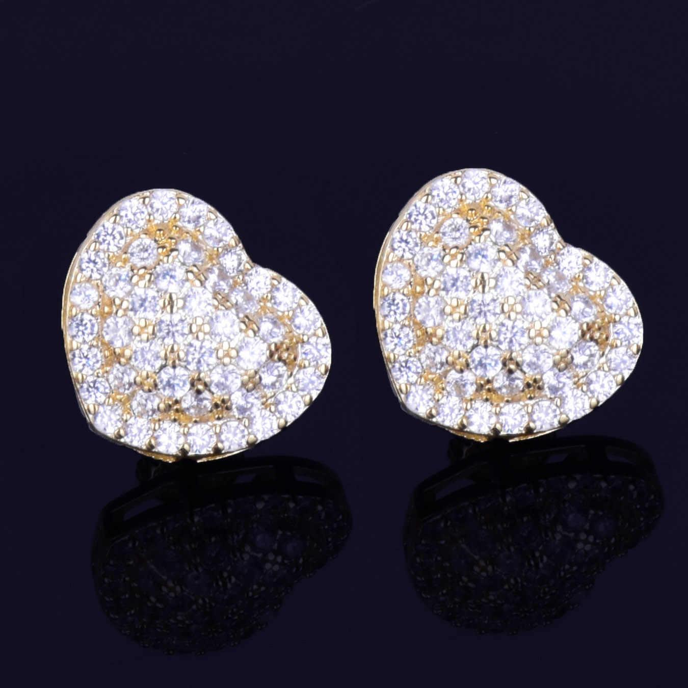 14MM Heart-shaped Men Women Stud Earring Gold Silver Full Cubic Zircon Screw Back Earrings Fashion Hip Hop Jewelry for Gift